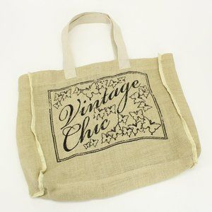 Vintage Chic Burlap Tote Bag
